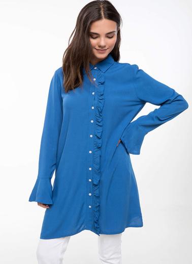 DeFacto Fırfır Detaylı Gömlek Tunik Mavi